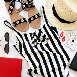 Black & White Striped Lace Up One Piece Swimsuit